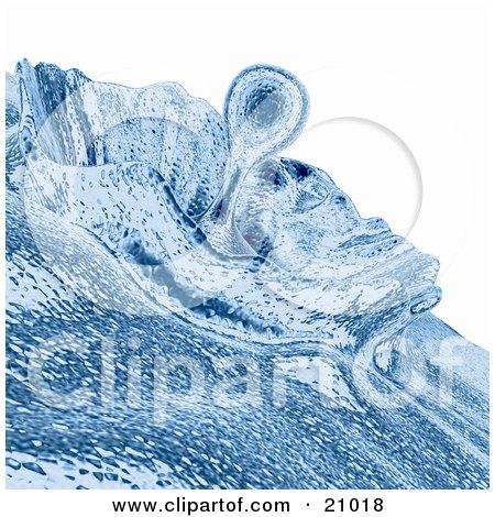 Clipart Illustration of a Blue Liquid Droplet Splashing by 3poD