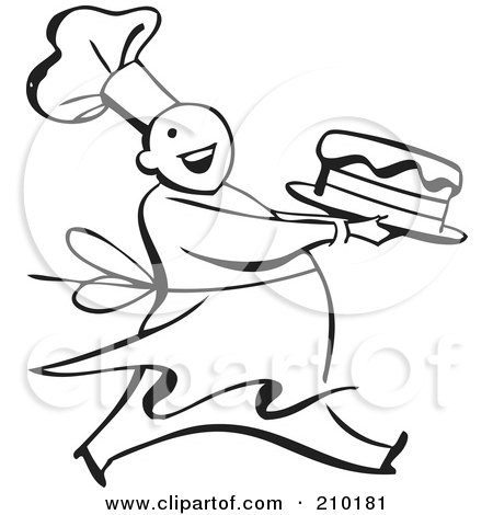 Royalty-Free (RF) Clipart Illustration of a Retro Black And White Chef Carrying A Cake by BestVector