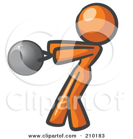 Royalty-Free (RF) Clipart Illustration of an Orange Woman Design Mascot Working Out With A Kettle Bell by Leo Blanchette