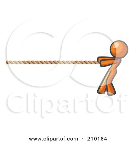 Royalty-Free (RF) Clipart Illustration of an Orange Design Mascot Woman Tugging On A Rope by Leo Blanchette