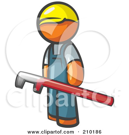 Royalty-Free (RF) Clipart Illustration of an Orange Man Design Mascot With A Red Pipe Wrench by Leo Blanchette