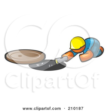 Royalty-Free (RF) Clipart Illustration of an Orange Man Design Mascot Sewer Worker Shining A Flashlight Down A Man Hole by Leo Blanchette