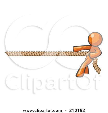 Royalty-Free (RF) Clipart Illustration of an Orange Design Mascot Man Tugging On A Rope by Leo Blanchette