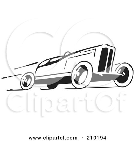 Royalty-Free (RF) Clipart Illustration of a Retro Black And White Race Car Speeding To The Right by BestVector