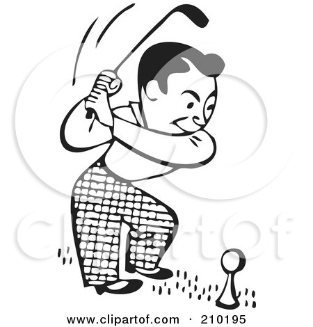 Royalty-Free (RF) Clipart Illustration of a Retro Black And White Man On A Golf Course by BestVector