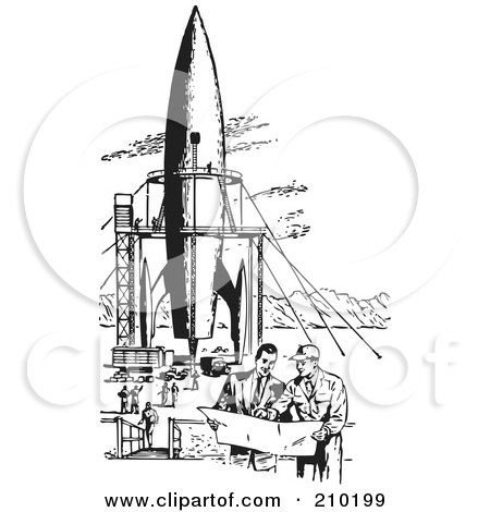 Royalty-Free (RF) Clipart Illustration of Retro Black And White Men By A Missile by BestVector