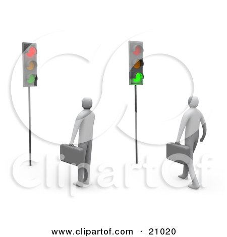 Clipart Illustration of Two Businessmen Waiting At A Traffic Light, One Turned Green, One Red by 3poD