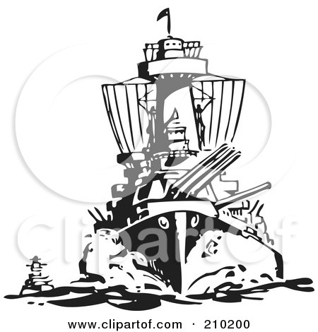 Royalty-Free (RF) Clipart Illustration of a Retro Black And White Military Ship by BestVector
