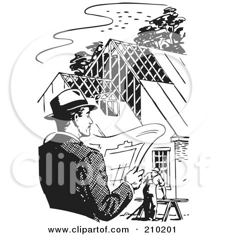 Royalty-Free (RF) Clipart Illustration of a Retro Black And White Man By A Home Under Construction by BestVector