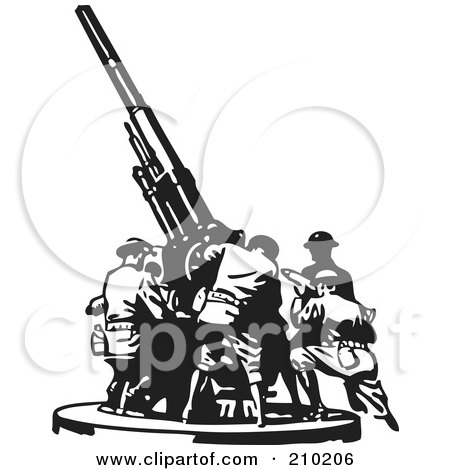 Royalty-Free (RF) Clipart Illustration of a Retro Black And White Team Setting Up A Military Gun by BestVector