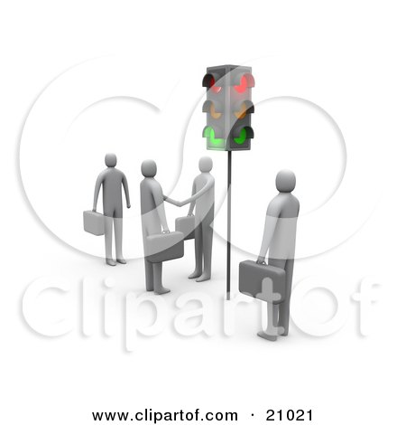 Clipart Illustration of Businessmen Waiting At Red Stop Lights, Watching Two Men Engaged In A Handshake. by 3poD