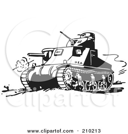 Royalty-Free (RF) Clipart Illustration of a Retro Black And White Military Tank by BestVector