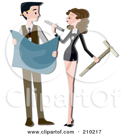 Royalty-Free (RF) Clipart Illustration of an Architect Couple Drafting by BNP Design Studio