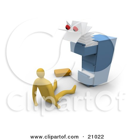 Clipart Illustration of a Scary Monster Emerging From A Messy Filing Cabinet, Scaring A Businessman by 3poD