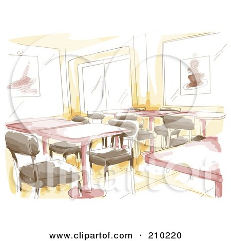 Royalty-Free (RF) Clipart Illustration of a Watercolor And Sketched Indoor Cafe Scene by BNP Design Studio