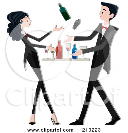 Royalty-Free (RF) Clipart Illustration of a Bartender Couple Mixing Drinks by BNP Design Studio