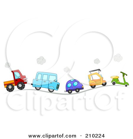 Royalty-Free (RF) Clipart Illustration of a Line Of Cute Cars And Vehicles Driving On A Hilly Road by BNP Design Studio