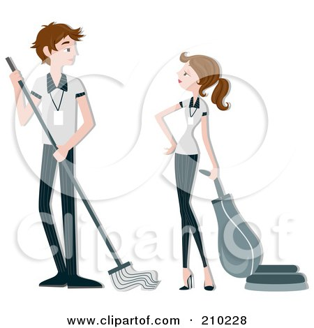 Royalty-Free (RF) Clipart Illustration of a Housekeeping Couple Cleaning by BNP Design Studio