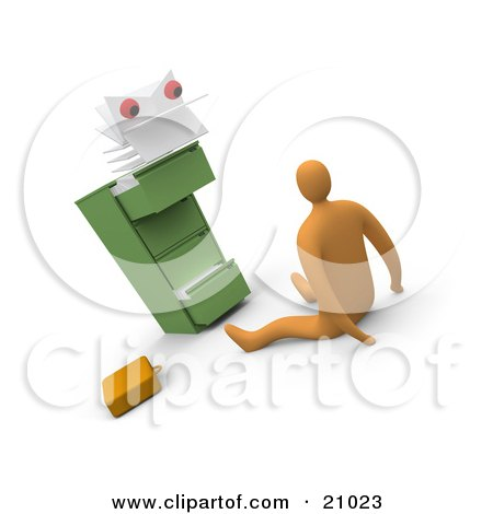 Clipart Illustration of a Scared Businessman On The Floor, Being Stared At By A Monster From A Filing Cabinet by 3poD