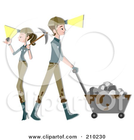 Royalty-Free (RF) Clipart Illustration of a Miner Couple Mining by BNP Design Studio