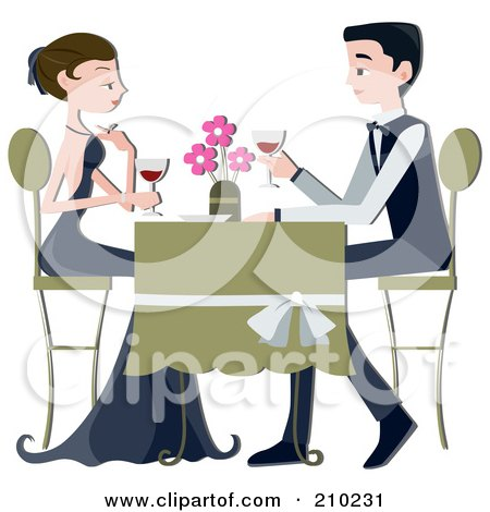 Royalty-Free (RF) Clipart Illustration of a Formal Couple Drinking Red Wine At A Restaurant by BNP Design Studio