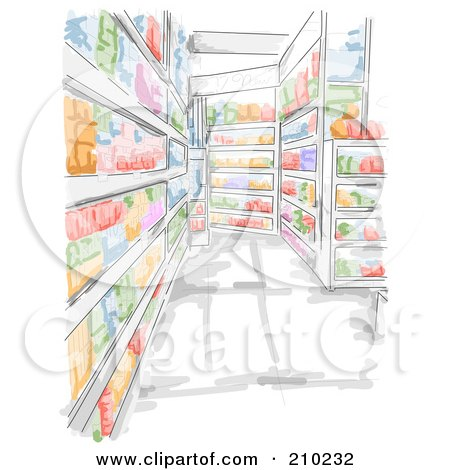 Royalty-Free (RF) Clipart Illustration of a Watercolor And Sketched Grocery Store Aisle Scene by BNP Design Studio