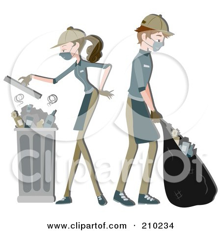 Royalty-Free (RF) Clipart Illustration of a Waste Collector Couple Gathering Garbage by BNP Design Studio
