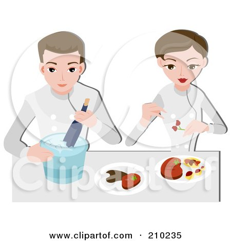Royalty-Free (RF) Clipart Illustration of a Food Stylist Couple Arranging Food by BNP Design Studio