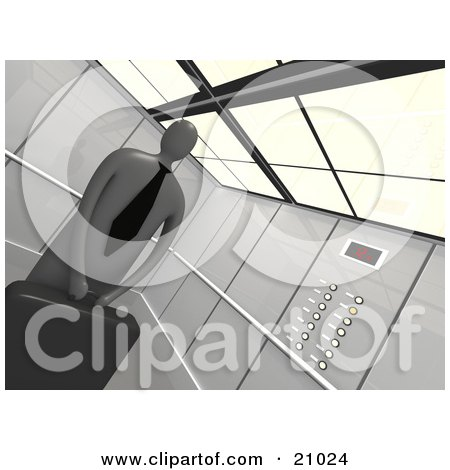 Clipart Illustration of a Successful Businessman Holding His Briefcase And Riding In An Elevator by 3poD