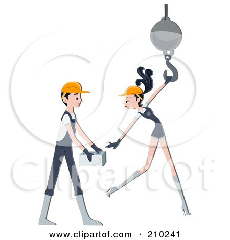 Royalty-Free (RF) Clipart Illustration of a Construction Worker Couple Working by BNP Design Studio