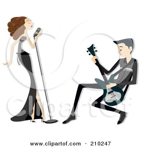 Royalty-Free (RF) Clipart Illustration of a Singer And Guitarist Couple Performing by BNP Design Studio