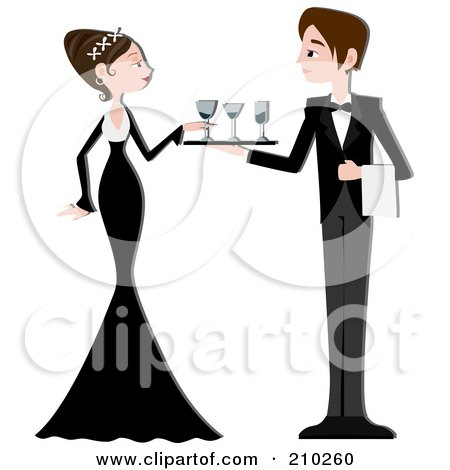 Royalty-Free (RF) Clipart Illustration of a Waiter Serving Beverages To A Formal Woman At A Party by BNP Design Studio
