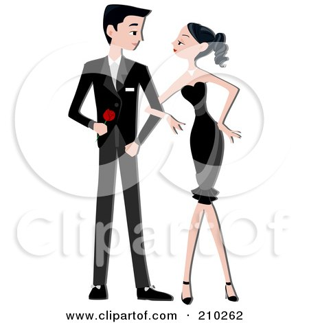 Royalty-Free (RF) Clipart Illustration of a Formal Couple Standing Arm In Arm And Gazing At Each Other by BNP Design Studio