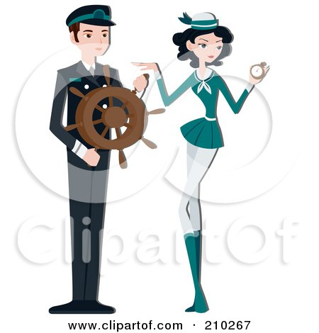 Royalty-Free (RF) Clipart Illustration of a Pretty Stewardess By A Ship Captain by BNP Design Studio