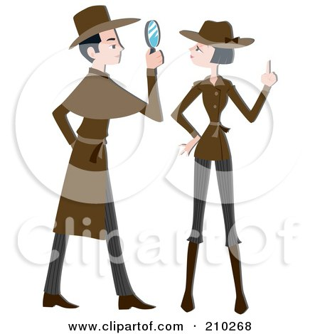 Royalty-Free (RF) Clipart Illustration of a Detective Couple Working by BNP Design Studio