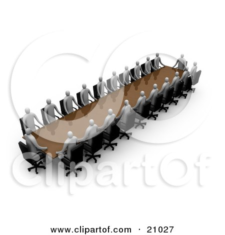 Clipart Illustration of a Group Of Gray People During A Conference, Seated At A Table by 3poD