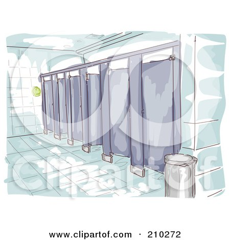 Royalty-Free (RF) Clipart Illustration of a Watercolor And Sketched Public Restroom Scene by BNP Design Studio