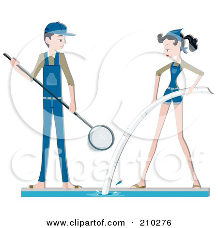 Royalty-Free (RF) Clipart Illustration of a Pool Maintenance Couple Cleaning by BNP Design Studio