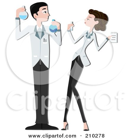 science lab clipart. Science Lab Couple Working