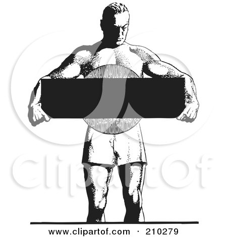 Royalty-Free (RF) Clipart Illustration of a Retro Black And White Bodybuilder Holding A Blank Sign by BestVector