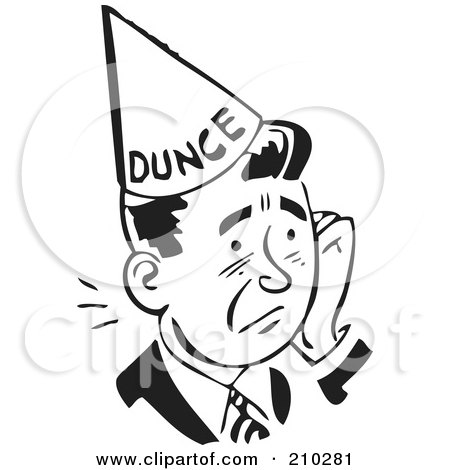 Royalty-Free (RF) Clipart Illustration of a Retro Black And White Man In A Dunce Hat by BestVector