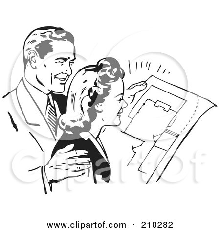 Royalty-Free (RF) Clipart Illustration of a Retro Black And White Couple Reviewing Blue Prints by BestVector