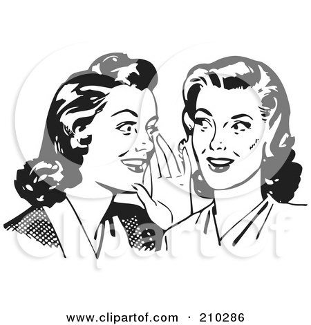 Royalty-Free (RF) Clipart Illustration of Retro Black And White Women Whispering Gossip by BestVector