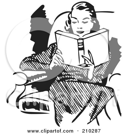 Royalty-Free (RF) Clipart Illustration of a Retro Black And White Woman Reading In A Chair by BestVector