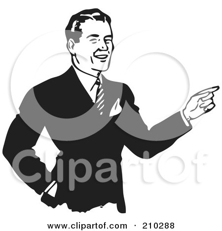 Royalty-Free (RF) Clipart Illustration of a Retro Black And White Businessman Pointing by BestVector