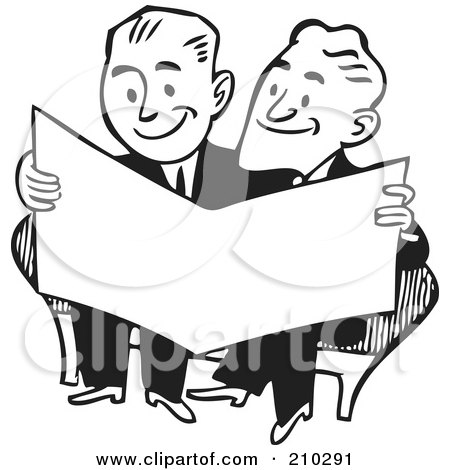 Royalty-Free (RF) Clipart Illustration of Retro Black And White Businessmen Reading A Paper by BestVector