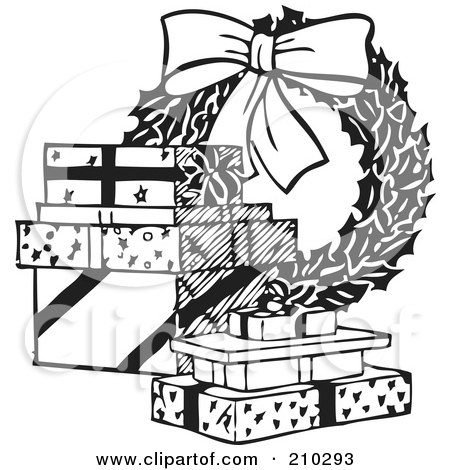 Royalty-Free (RF) Clipart Illustration of a Retro Black And White Christmas Wreath And Presents by BestVector