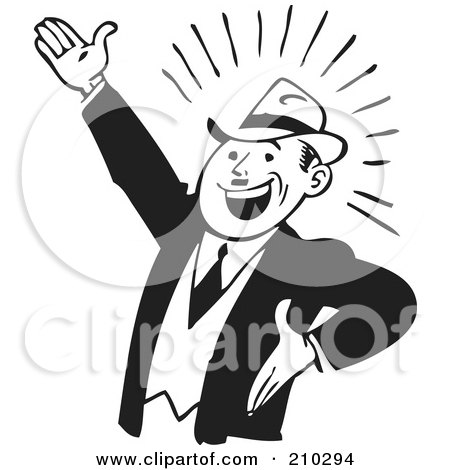 Royalty-Free (RF) Clipart Illustration of a Retro Black And White Businessman Gesturing Up Left by BestVector
