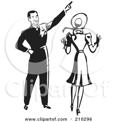 Royalty-Free (RF) Clipart Illustration of a Retro Black And White Man Pointing And Showing His Wife Something by BestVector