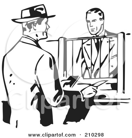 Royalty-Free (RF) Clipart Illustration of a Retro Black And White Businessman Talking To A Bank Teller by BestVector